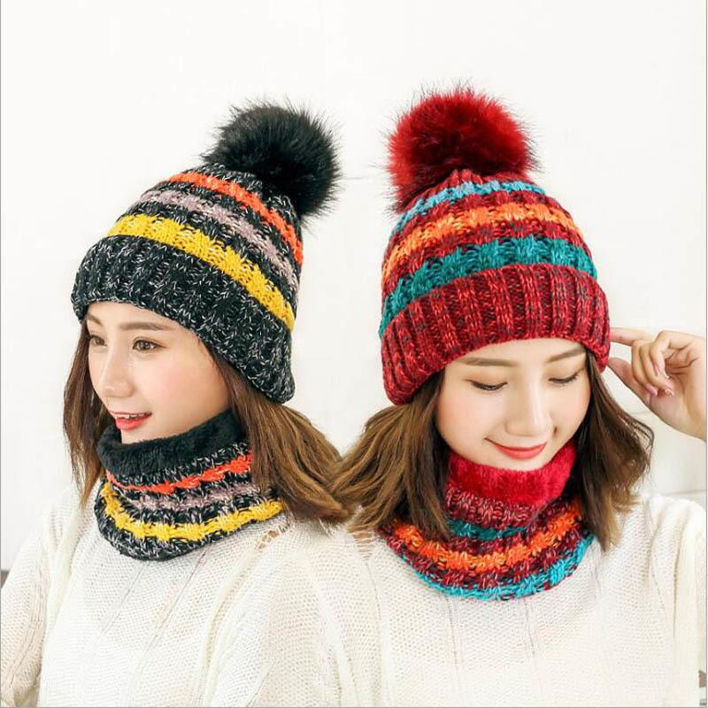 a8956c19cd8 2018 Hot Neck Scarf Warm Winter Hat Women Caps Girl Ski Hat Skullies Beanies  Pom Hats Balaclava Knitted Hat S1218 Beanie Caps Slouchy Beanie Crochet  Pattern ...