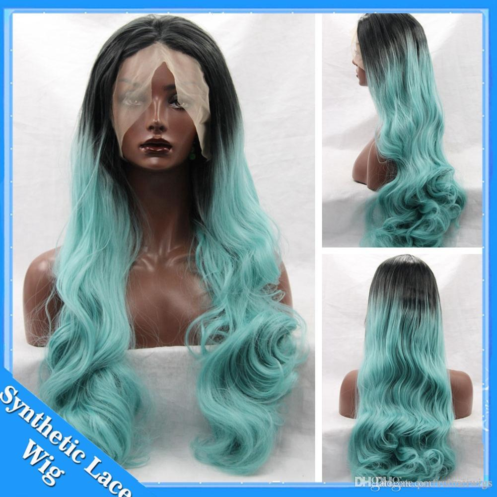 Light Green Wig Ombre Synthetic Lace Front Wig Two Tone Ombre Long Body  Wavy Blue Synthetic Wig Heat Resistant Wigs For Black Women Whole Lace Wigs  Female ... 356f6848e0