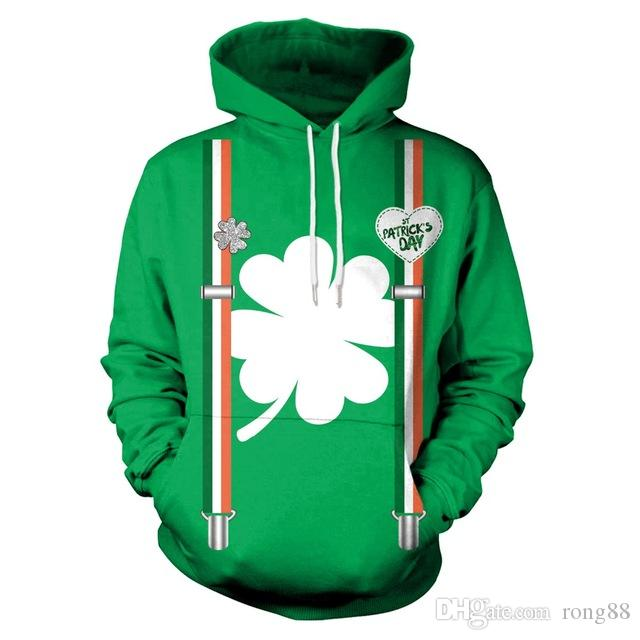 St. Patrick Day Four Leaf Clover 3D Print Fake Straps Hoodie Men/women Hiphop Casual Sweatshirts Girls Green Tracksuits