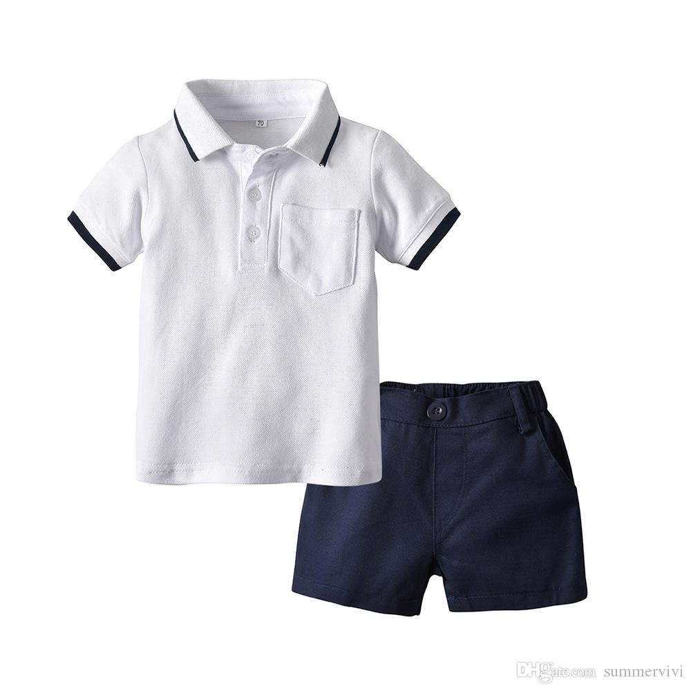 Fashion boys stripe lapel short sleeve polo shirt+double pocket shorts 2pcs sets 2019 summer new kids cotton outfits baby clothing F3894