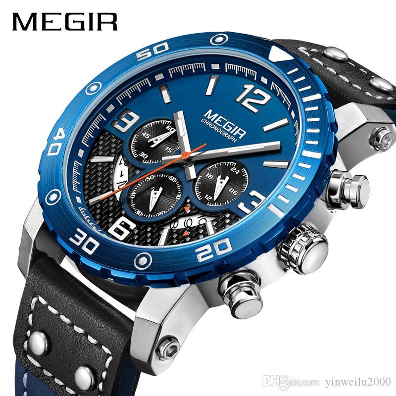 d93f528a6bb Compre AAA Luxo Homens Designer Relógio Automático Relógio Analógico MEGIR  2084 3ATM Banda De Couro À Prova D  Água Calendário E Temporizador De ...