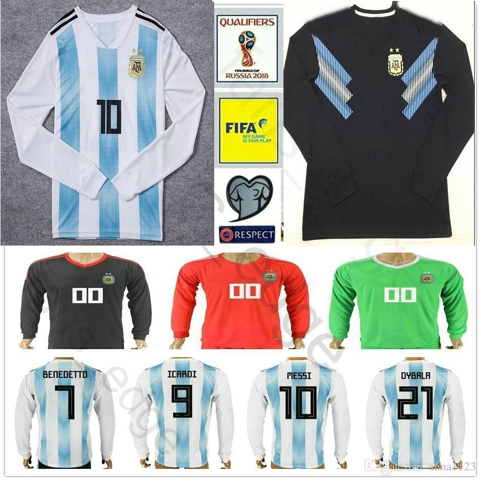 cd433233f0192 Camiseta De Fútbol De Manga Larga Argentina 10 MESSI DI MARIA KUN ...