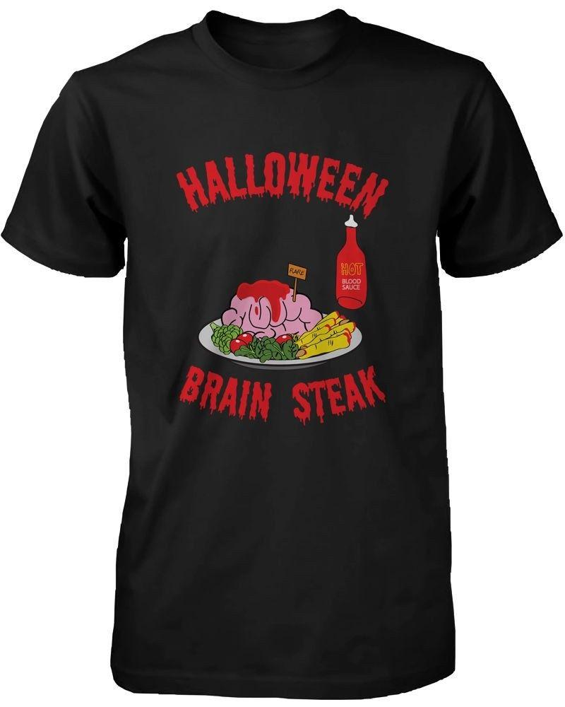 Halloween Brain Steak for Zombie Men's Shirt Funny Tshirt for Horror Night Classic Quality High t-shirt