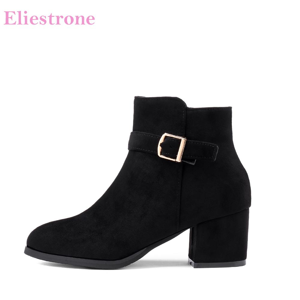 7b67568fb50 Brand New Winter Black Apricot Women Ankle Boots Vouge Lady Nude Shoes  Square Chunky Heels SH803 Plus Big Small Size 11 32 43 45