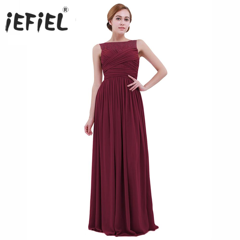 cf4920131ce For Women IEFiEL Elegant For Women S Ladies Chiffon Lace Long Es Summer  Evening Party Dress Prom Gown Womens Weeding Maxi Dress Summer Dress Women  Black And ...