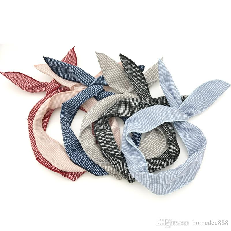 Women Girls Iron Wire Printed Cloth Hair Band Rabbit Ear Wrapped Headband DIY Colorful Bow Headband Home Wash Face Hairband VT0035