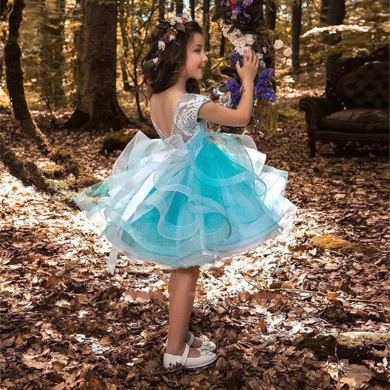 Gorgeous Baby Girls Glitz Beaded Pageant Cupcake Gowns Withe Flowers Infant  Mini Short Skirts Toddler Girls Soft Lace Pageant Dresses 2019