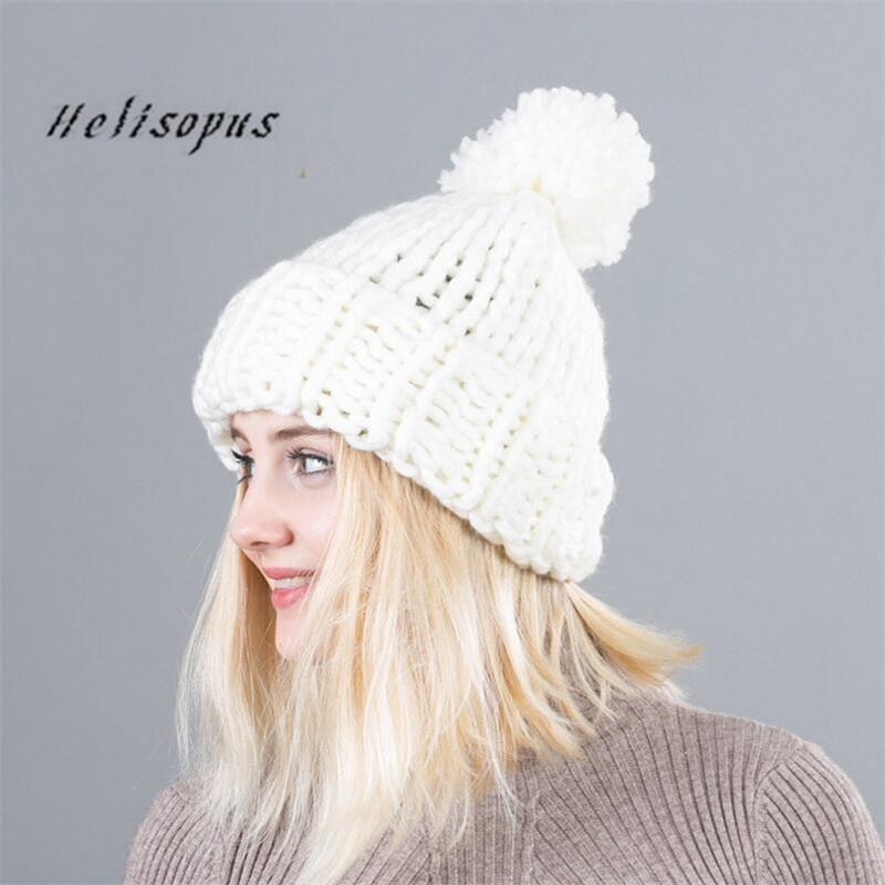 7bad418fa60 ... Knitting Hat Winter Outdoor Warm Women Ball Beanies Solid Color Casual  Caps Beanies For Ladies Slouchy Beanie Skull Cap From Arrowhead