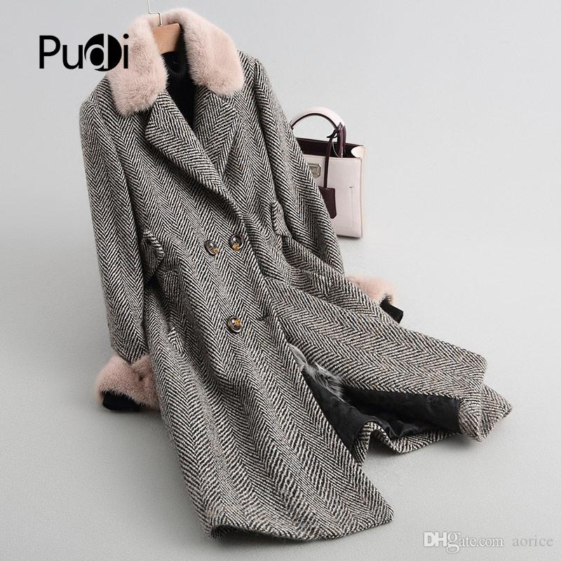8f9c6bc1547 2019 PUDI A18123 Women S Winter Warm Wool Overcoat With Fox Collar Sheep  Fur Lining Coat Lady Coat Jacket Overcoat From Aorice