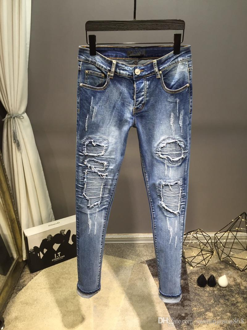 "19"" Newest Style Famous Brand Men's Washed Design Casual PlaidSlim 291Summer Light Weight Denim Stretch Denim Skinny Jeans Top Quality 29-40"