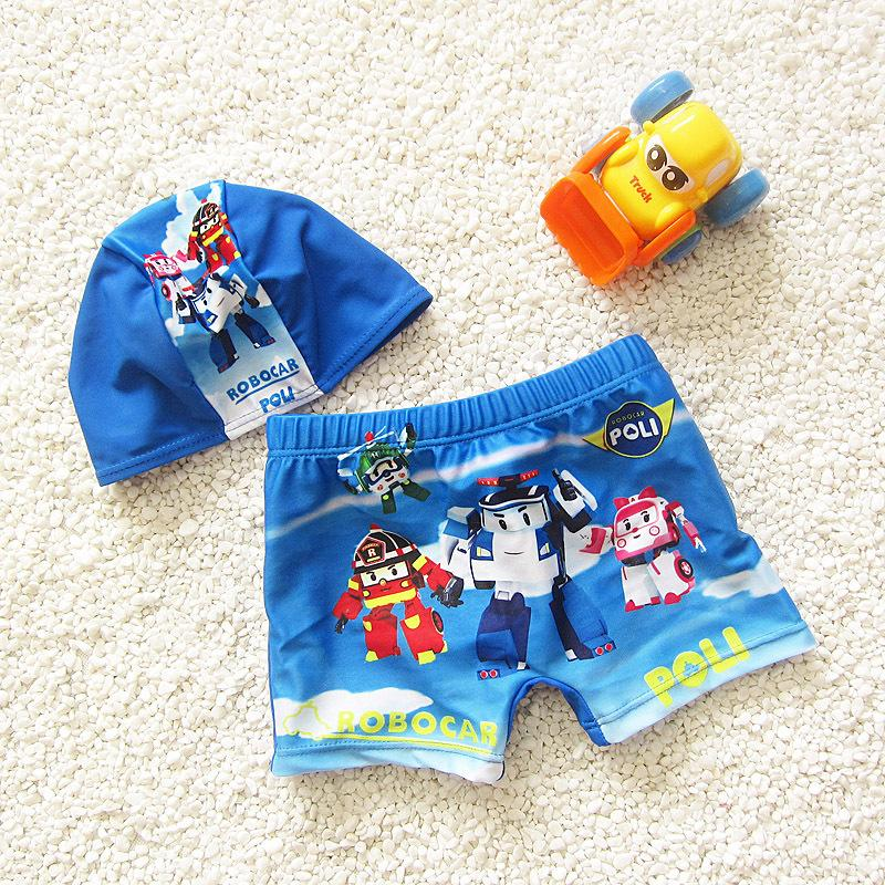 Cartoon Swim Pants Boys High-quality Children Swimwear Set Child Blue Bathing Suit Swimsuits with Swimming Cap