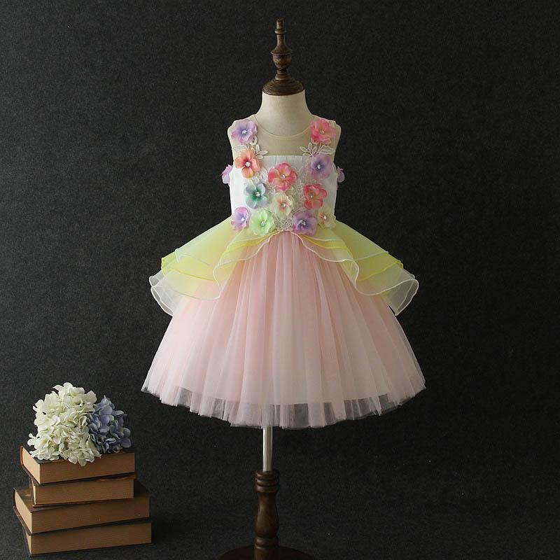 Large kids clothes 2019 new girls dresses colorful lace girls dress floral Princess Dresses Girls Party Dress tutu Formal Dresses A4111