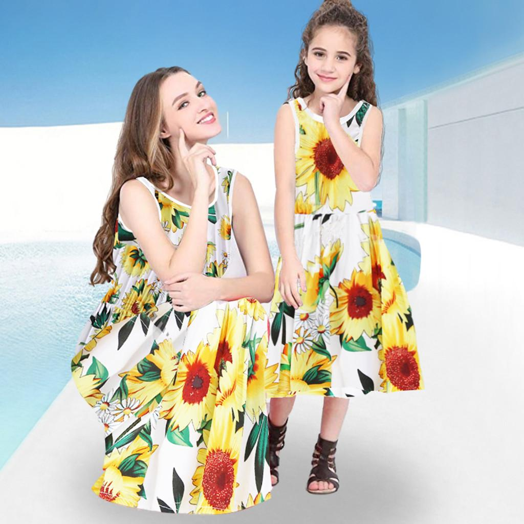 Mommy and Me Baby Girl Summer Casual Sleeveless Sunflower Print Clothes Dress mom and daughter matching clothes #py30