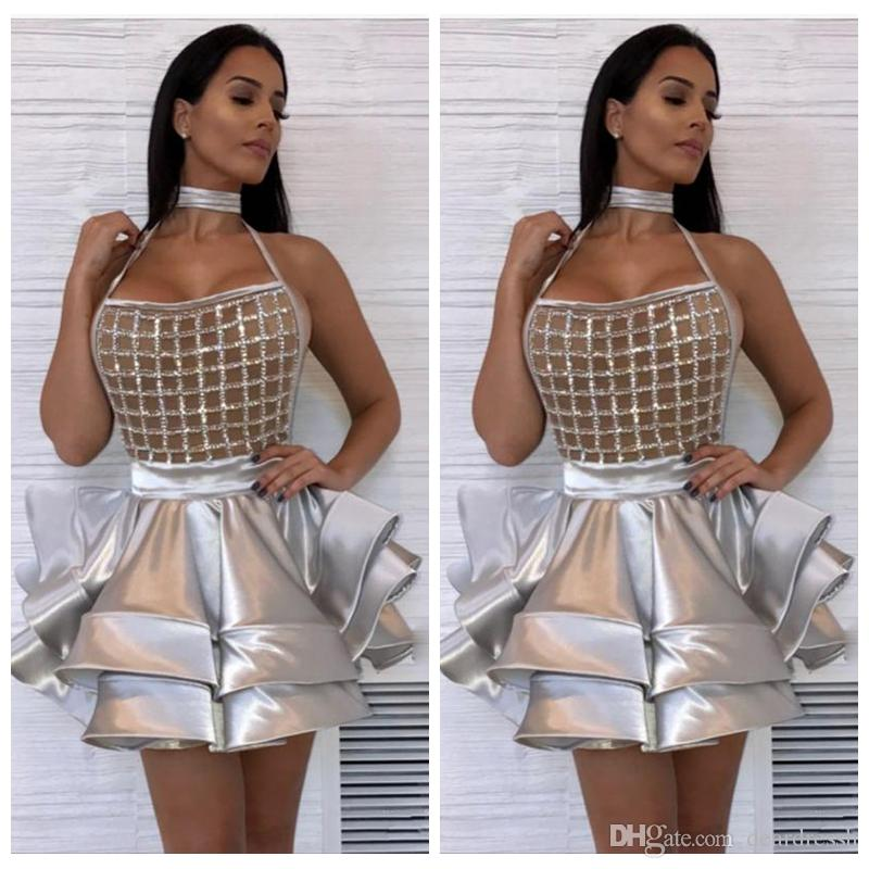 2019 Halter Sliver Short Cocktail Dresses Beading Sequins Ruffles Tiered Night Club Prom Gowns Mini Evening Party Dress Vestidos De Soiree