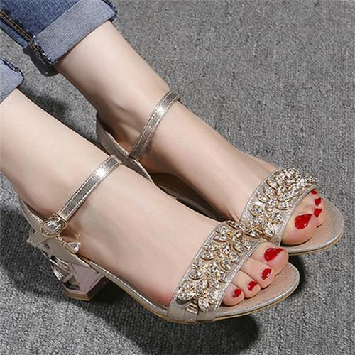 5bff7dd061 Meotina Shoes Women Sandals Luxury Bridal Shoes Summer Open Toe Party  Chunky Heels Rhinestone Sandals Gold Big Size 9 10 98606