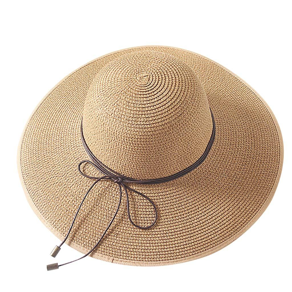 MUQGEW Summer Sun Hats For Women Bow Wide Brim Straw Women Colorful Big Brim Straw Bow Hat Sun Floppy Wide Hat Beach Cap#g4