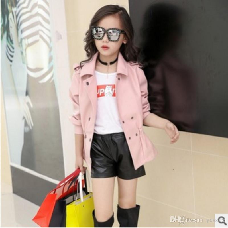 a91386810 Children s Faux Leather Jacket Coat Spring and Autumn 2019 New Girls  Fashion Faux Leather Jacket 3 Solid Colors Size6-14 ly175