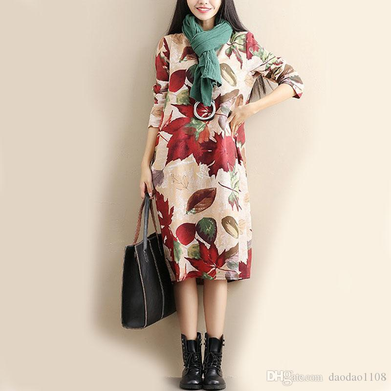 bdee95669085b Autumn Spring Floral print Dresses for women Loose long drese Plue size  Cotton linen Red white and other colors size M-2XL