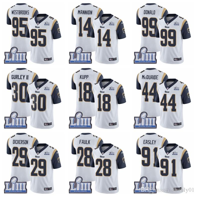 3246e4f3 16 Jared Goff 30 Todd Gurley II Limited Road Jersey Los Angeles Men'S Rams  White Super Bowl LIII Bound Vapor Football Jersey Black Prom Suit Black  Wedding ...