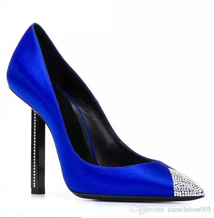 Mode Sexy Blaue Schuhe Fersen High Satin Neue Dame Kristallen Pumps Brautschuhe Silk Elegante Hochzeit Heel Frauen Dünne Mit tQhBsrdoCx