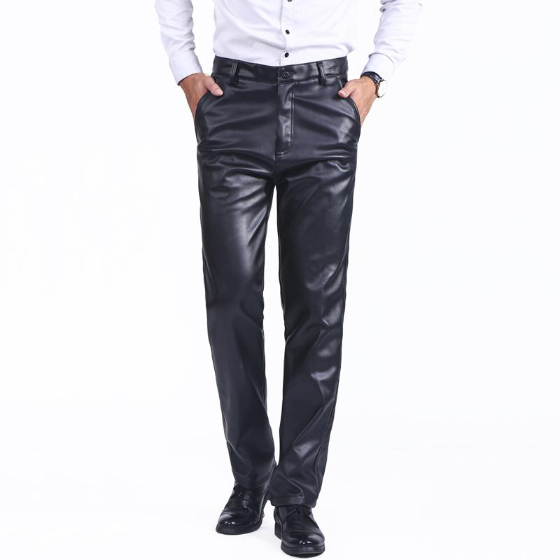 Men/'s Black pu leather casual or dress biker straight pants trousers Size 29-42