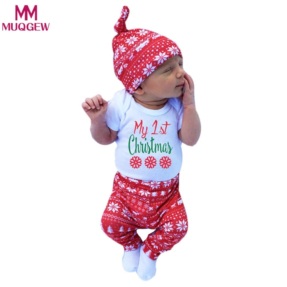 297189cb5 3pcs Xmas set Newborn Baby Girls Boys My First Letter Print long sleeve Tops  Romper+Long Pants Hat Outfits Y18120303