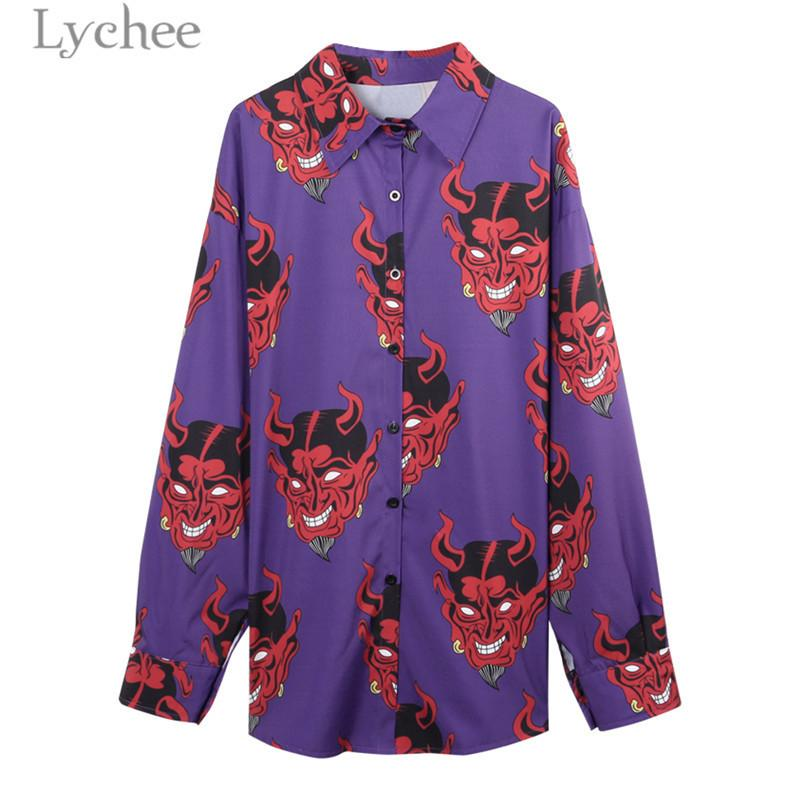 8c5af3723 2019 Lychee Summer Women Demon Print Devil Blouse Long Sleeve Turn Down  Collar Shirts Casual Loose Purple Pink Blouse Tops Female Y190427 From  Tao01, ...