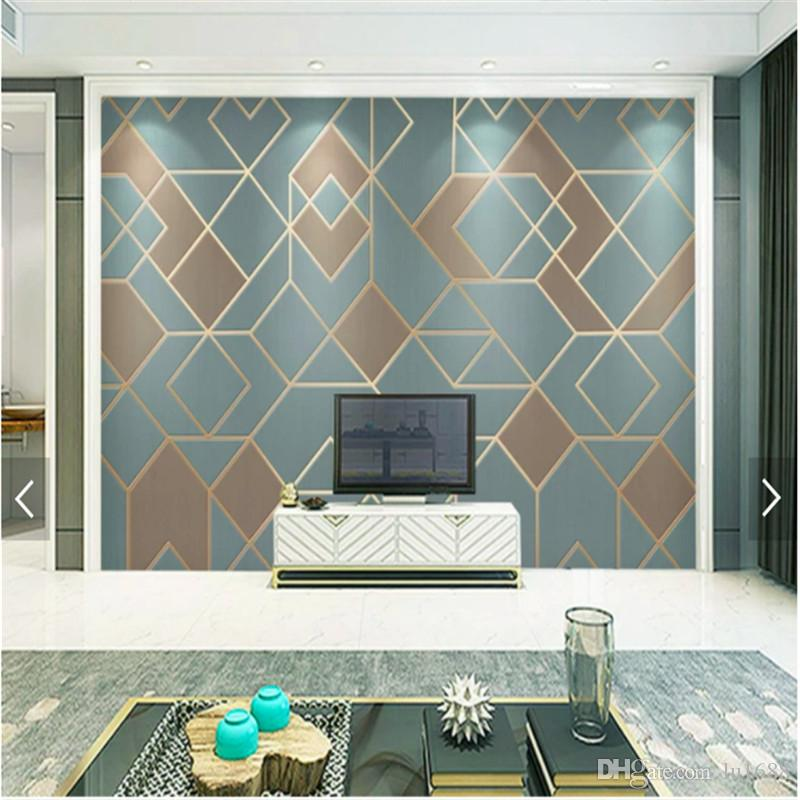 36 Living Room Decorating Ideas That Smells Like Spring: Abstract Geometric Pattern Wallpaper For Bedroom Modern