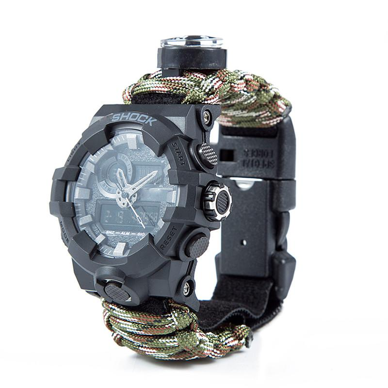 Outdoor Survival Paracord Watch Camping Multi-functional Survival Watch Compass Thermometer Rescue Rope Tactical Paracord Tools (9)