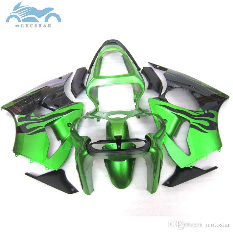 Free Customize fairing kit for KAWASAKI ninja 2000 2001 2002 ZX6R green  black ZX 6R 00-02 body fairing parts