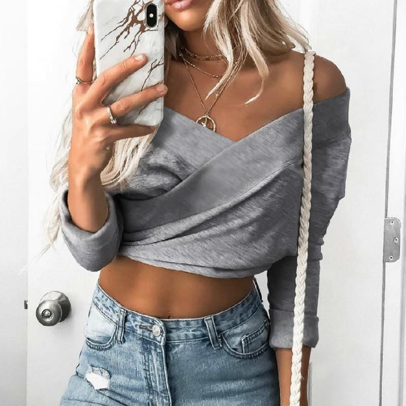 00e8a2f85069d Spring Summer T Shirts Women Top 2019 New Sexy Crop Top Long Sleeve Hollow  Short TShirt Femme Plus Size Crop Tees Tops GV597 T Shirt Site Online Tees  From ...