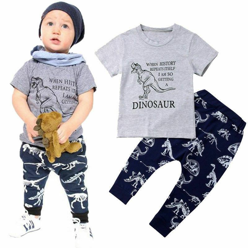 Dinosaur Kids Baby Boys Short Sleeve Cotton T-shirt Tops Long Pant Trouser 2PCS Outfits Casual Summer Clothes Set