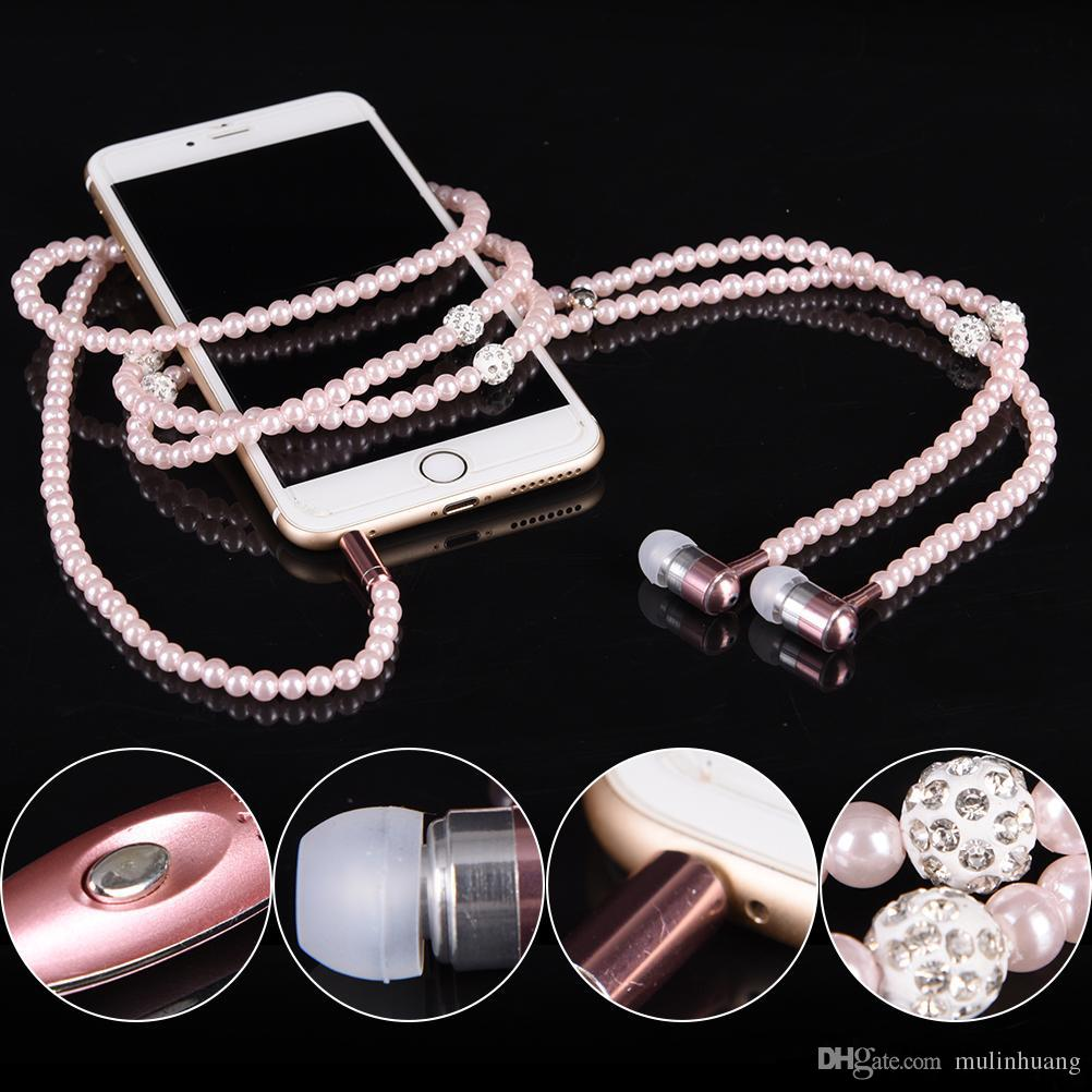 Headphone MP3 Diamond Pearl beads In Ear Necklace Earphones With Mic Fashional gift Girls Phone Earbuds Headset Gifts High Quality MQ50