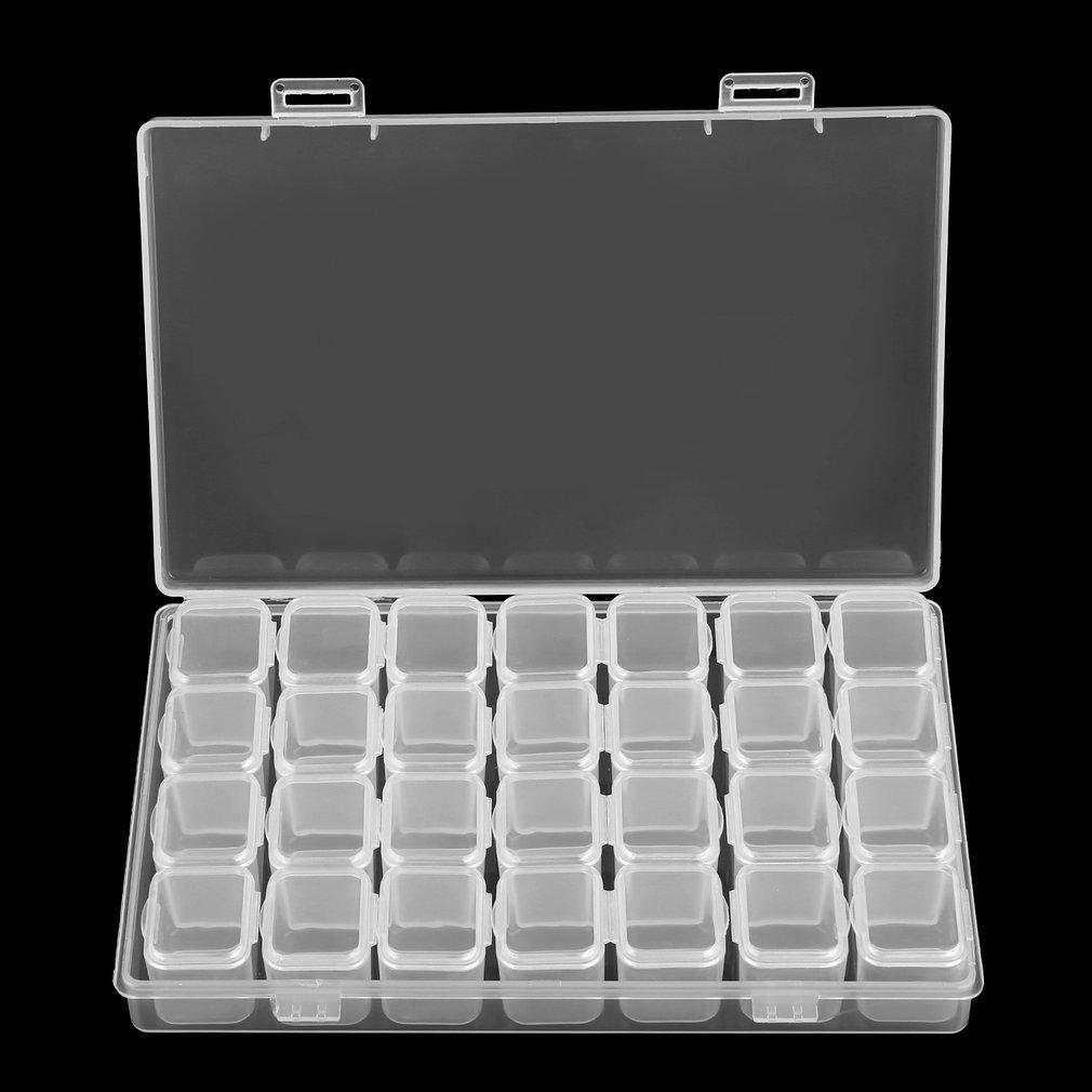 28 Slots Clear Plastic Empty Nail Art Decoration Storage Case Box ... 30b2b1358c42