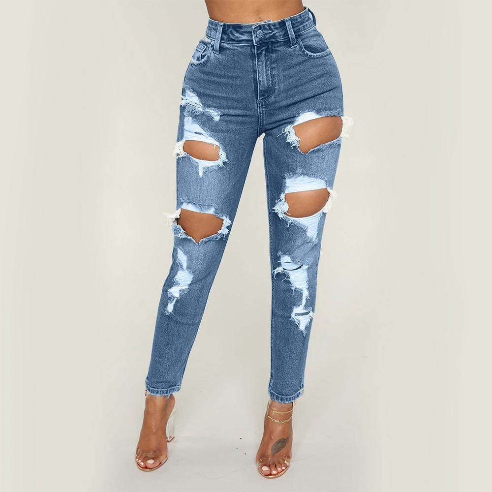 Pantalon Détruits Jeans De Haute Trous Genou Jean Simple Skinny Crayon En Taille Femmes Pantalons WeYE9IDH2