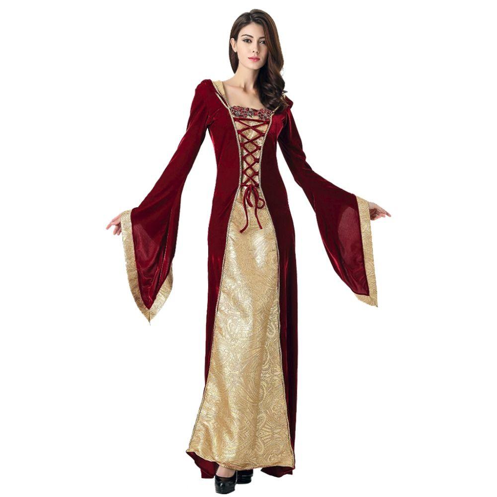 8e8e547520f Acheter Halloween Robe Médiévale Robe Femmes Robe Renaissance Princesse  Reine Velours Tribunal Femme De Chambre Robe Vintage Vampire Costume  D halloween De ...