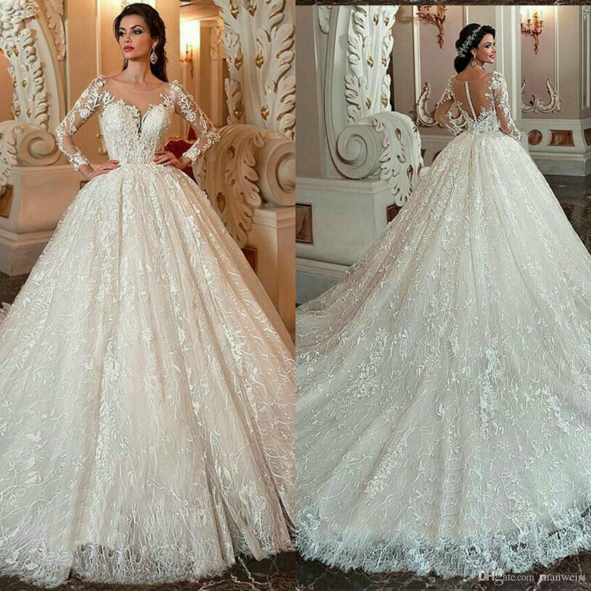 2651c44a4 Modest Lace Ball Gown Wedding Dresses 2019 New Illusion Jewel Neck Long  Sleeves Beads Arabic African Vestido De Novia Appliqued Bridal Gowns Gold  Wedding ...