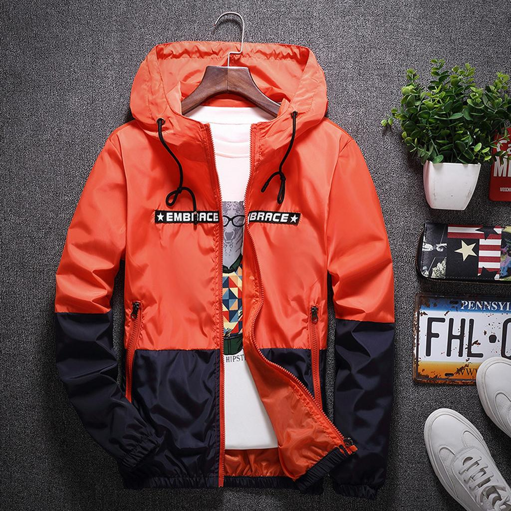 men jacket windbreak Autumn Alphabet Printing Color Collision Coat Hoodie Outdoor Jacket Male Loose Casual clothes ropa mujer