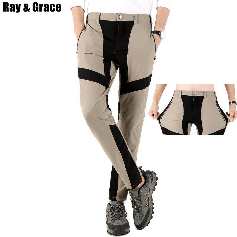 5aceec59cd43 RAY GRACE Summer Sport Pants Outdoor Men Quick Dry Climbing Trekking ...