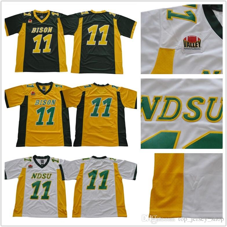 finest selection ee21f a4794 NCAA North Dakota State Bison Jersey #11 Carson Wentz white green yellow  NDSU Bison College Football Jerseys