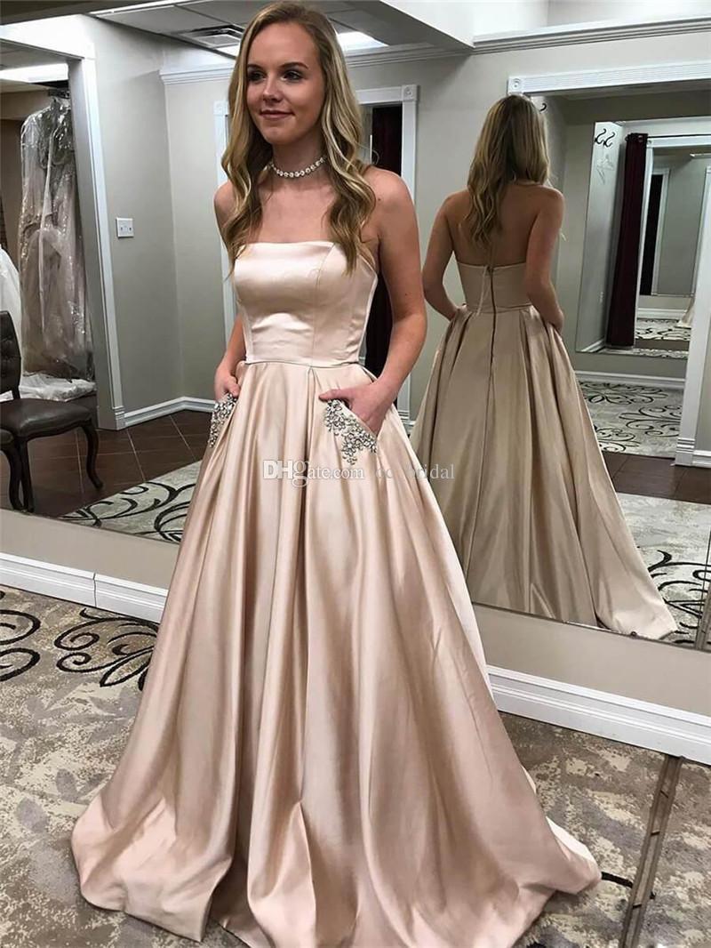 7d22ac8bb1 Modest Strapless A Line Prom Dresses 2019 Sexy Backless Beaded Crystal Dress  Evening Wear Formal Floor Length Vestido De Festa With Pocket Prom Dresses  For ...