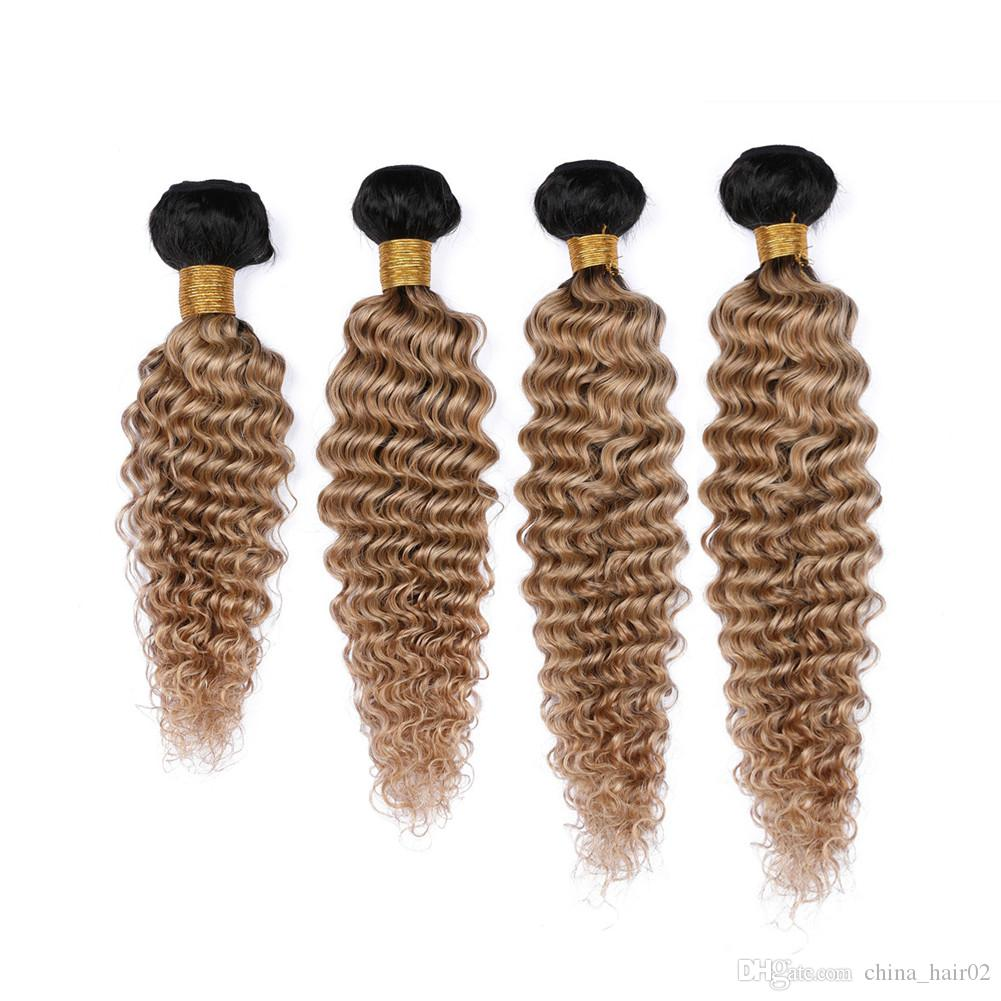 #1B/27 Honey Blonde Ombre Deep Wave Indian Virgin Human Hair 4Bundles Ombre Light Brown Human Hair Weaves Double Wefts Mixed Length