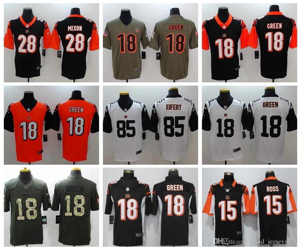 competitive price c4348 34fbc Men Bengals 28# Joe Mixon 85# Tyler Eifert Football Legend Jersey 18# A.J.  Green Ross Color Rush Stitched Jerseys