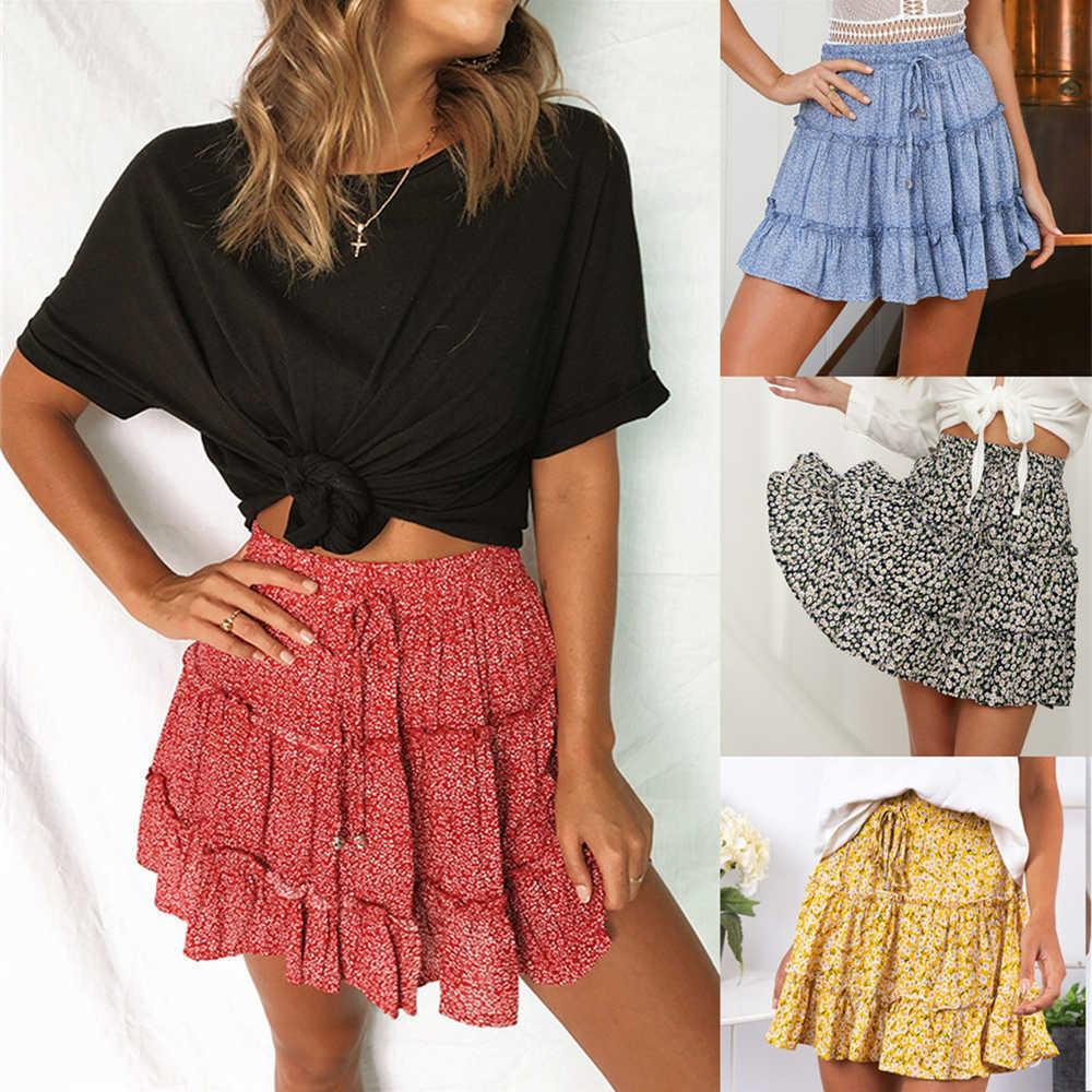 Women Sexy Fashion High Waist Frills Skirt For Women Broken Flower Half-length Skirt Printed Beach A Short Mini Skirts New 2019