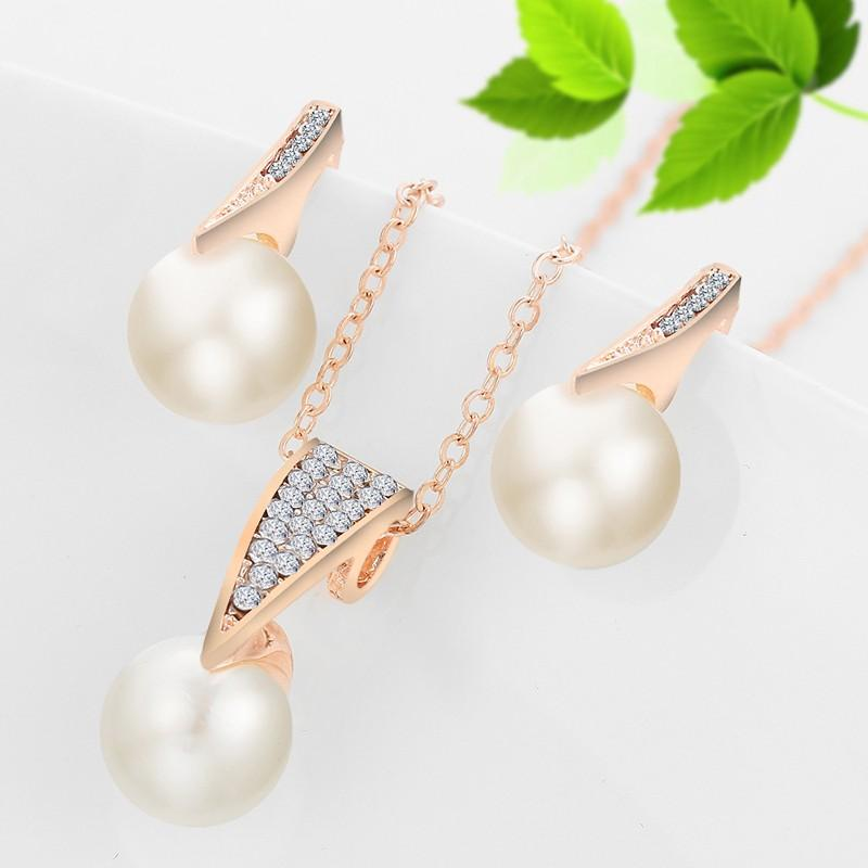 Fashion Simulated Pearl Jewelry Sets For Women Crystal Earrings Necklace Set Gold/Silver Plated Wedding Jewelry Set 2T071