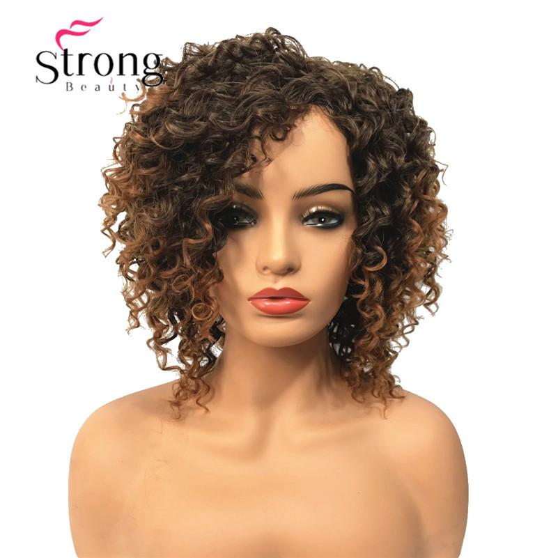 Short Brown Highlights Ombre Curly Afro High Heat Ok Full Synthetic Wig Wigs  Cheap Synthetic Lace Wigs Thin Skin Wigs From Lili614 7c5b6947594e