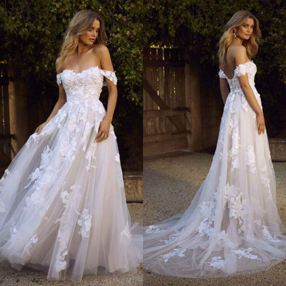95612f472d07 Discount Berta 2019 A Line Beach Wedding Dresses Bohemia Lace Appliqued Off  The Shoulder Wedding Gowns Backless Sexy Summer Beach Bridal Dress Short  Bridal ...