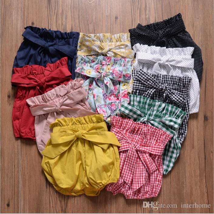 Ins Baby Shorts Toddler Bowknot PP Pants Girls Ruffle Bloomers Bread Pants Kids Casual Summer Briefs Diaper Newborn Boutique Underpant A5140