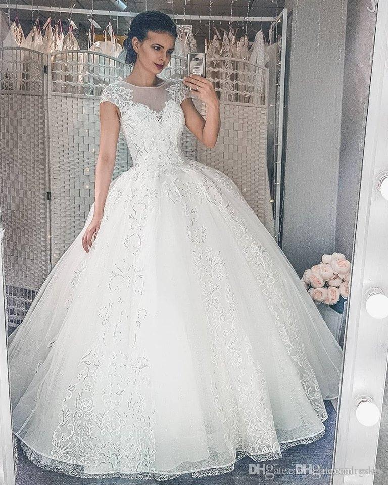 2019 Sheer Lace Appliques A-Line Wedding Dresses Custom Long Short Sleeves Bridal Gowns Modest Largo Robe De Mariee Princess Plus Size