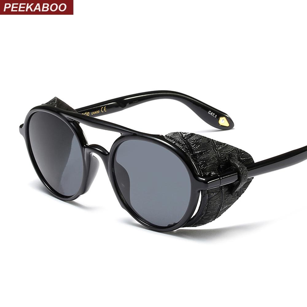 Compre Peekaboo Steampunk Homens Óculos De Sol Com Escudos Laterais 2019  Estilo Verão Couro Rodada Óculos De Sol Para As Mulheres Retro Uv400 De  Melontwo, ... b429e32d81